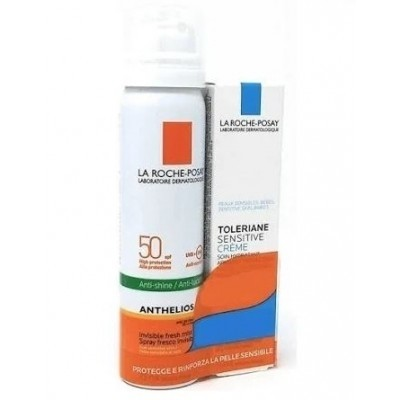 La Roche-Posay Anthelios spf50 spray invisibile 75ml+ Toleriane sensitive crema 15ml