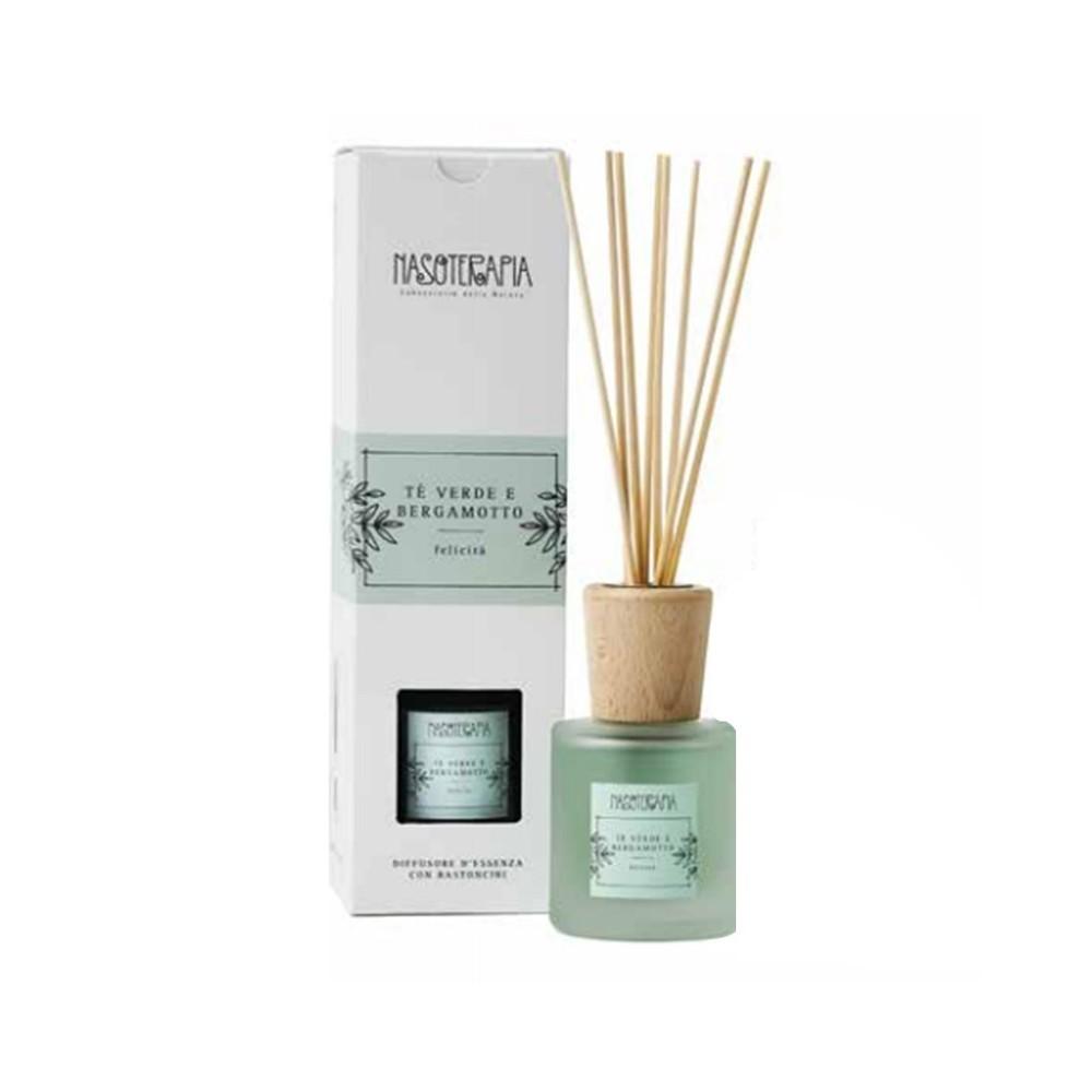 Nasoterapia Diffusore d'essenza con bastoncini Tè Verde e Bergamotto 100 ml