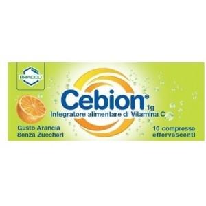 Cebion Integratore alimentare di Vitamina C, gusto arancia effervescente senza zucchero 10 compresse