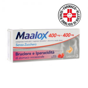 Maalox* Senza Zucchero 400mg + 400mg 30 Compresse Masticabili aroma frutti rossi